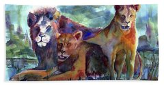Lion's Play Beach Towel