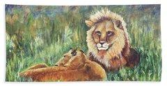Lions Resting Beach Towel