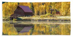 Little Barn By The Lake Beach Towel by Teri Virbickis