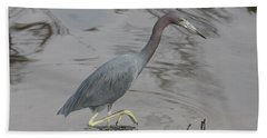 Little Blue Heron Walking Beach Towel by Christiane Schulze Art And Photography