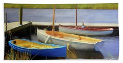Beach Sheet featuring the photograph Little Boats On The Huon by Wallaroo Images