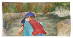 Beach Sheet featuring the painting Little Boy At Japanese Garden by Vicki  Housel