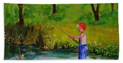 Little Boy Fishing Beach Towel