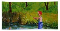Little Boy Fishing Beach Towel by Mike Caitham