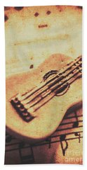 Little Carved Guitar On Sheet Music Beach Towel