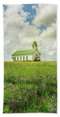 Beach Towel featuring the photograph Little Church On Hill Of Wildflowers by Robert Frederick