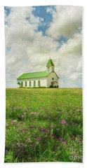 Little Church On Hill Of Wildflowers Beach Sheet by Robert Frederick