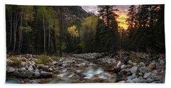 Little Cottonwood Creek Fall Sunset Beach Towel