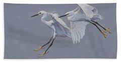 Little Egrets In Flight Beach Towel