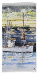 Little Fishing Boat Beach Towel