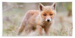 Little Fox Kit, Big World Beach Sheet by Roeselien Raimond