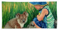 Beach Towel featuring the painting Little Friends by Margaret Stockdale