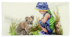 Beach Towel featuring the painting Little Friends Watercolor by Margaret Stockdale