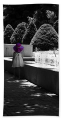 Little Girl In Magenta Hat Black And White Selective Color Beach Towel