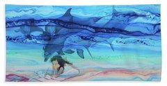 Little Girl Painter Beach Sheet