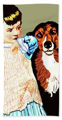 Beach Towel featuring the painting Little Girl With Hungry Mutt by Marian Cates