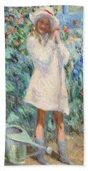 Little Girl With Roses / Detail Beach Towel