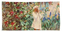 Little Girl With Roses  Beach Towel