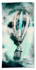 Little Hot Air Balloon Pendant And Clouds Beach Towel