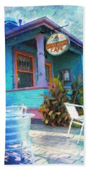 Little House Cafe  Beach Towel by Linda Weinstock