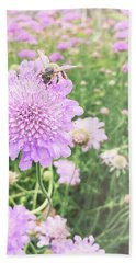 Beach Sheet featuring the photograph Little Lady On Scabiosa by Cindy Garber Iverson