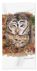 Beach Towel featuring the painting Little Owl by Monique Faella