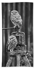 Little Owls Black And White Beach Towel