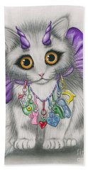 Little Purple Horns - 1980s Cute Devil Kitten Beach Towel