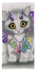Beach Towel featuring the mixed media Little Purple Horns - 1980s Cute Devil Kitten by Carrie Hawks