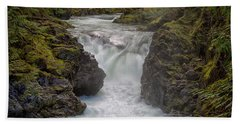 Beach Sheet featuring the photograph Little Qualicum Lower Falls by Randy Hall