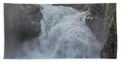 Beach Towel featuring the photograph Little Qualicum Upper Falls by Randy Hall