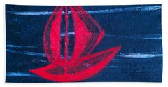 Beach Towel featuring the painting Little Red Boat  by Jacqueline McReynolds