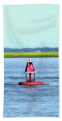 Little Red Buoy  Beach Towel