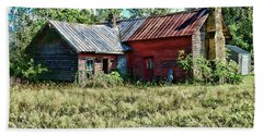 Beach Towel featuring the photograph Little Red Farmhouse by Paul Ward