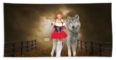 Beach Towel featuring the mixed media Little Red Riding Hood And The Big Bad Wolf by Marvin Blaine