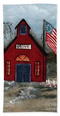 Beach Towel featuring the mixed media Little Red Schoolhouse by Writermore Arts
