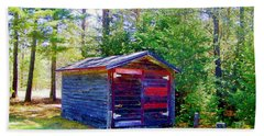 Little Shed At Farm Beach Towel by Shirley Moravec