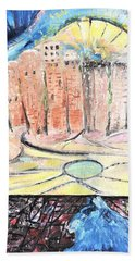 Little Town By The River Beach Towel