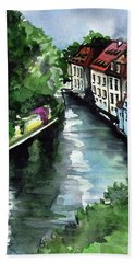 Beach Sheet featuring the painting Little Venice In Prague Certovka Canal by Dora Hathazi Mendes