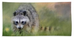 Little Wash Bear Raccoon Art Beach Sheet by Jai Johnson