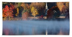Beach Towel featuring the photograph Little White Church On Crystal Lake by Jeff Folger