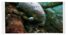 Little White Manatee Beach Towel