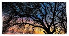 Live Oak Under A Rainbow Sky Beach Sheet