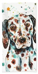 Beach Towel featuring the painting Liver-spotted Dalmatian by Zaira Dzhaubaeva