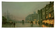 Liverpool Docks From Wapping Beach Sheet by John Atkinson Grimshaw