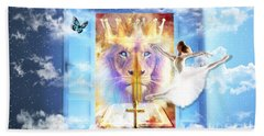 Beach Towel featuring the digital art Living Word Of God by Dolores Develde