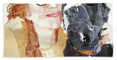 Beach Towel featuring the painting Livvy And Amos by Sandy McIntire