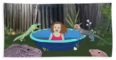 Beach Towel featuring the digital art Lizard People by Megan Dirsa-DuBois