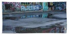 Beach Sheet featuring the photograph Ljubljana Graffiti Reflections #2 - Slovenia by Stuart Litoff