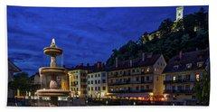 Beach Sheet featuring the photograph Ljubljana Night Scene #2 - Slovenia by Stuart Litoff